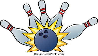 Bowling Strike - A bowling ball hitting the pins for a...