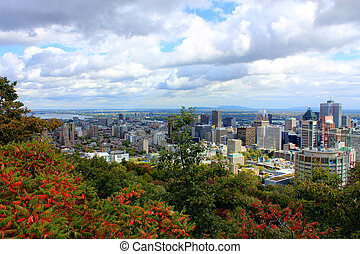 Montreal City Panorama from Mt Royal - A view of Montreal,...