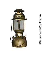 Antique Hurricane Lamp isolated with clipping path