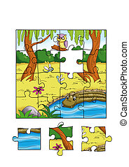 the game of the puzzle, the jungle - colored illustration of...