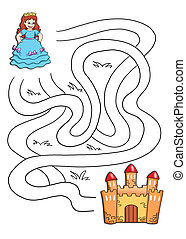 the game of the labyrinth, the prin - colored illustration...