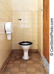 Dirty public toilet - Photo of a public toilet with part of...