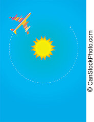 Around The Sun - Vector Illustration of Airplane Flying...