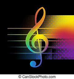Treble Clef Background - Abstract Music Background With...