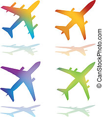 Gradient Color Vector Airplanes - Four Gradient Color Vector...