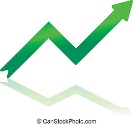 Gradient Green Growth Arrow - Gradient Color Arrow...