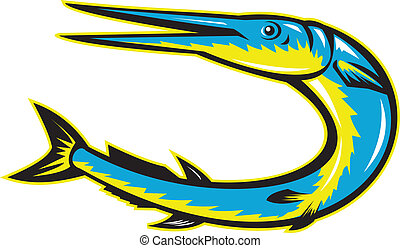Needlefish Jumping Retro Woodcut Style