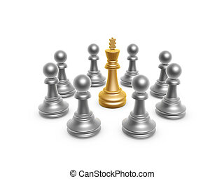king surrounded by pawn on white background