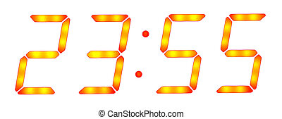 Digital clock show five minutes to twelve