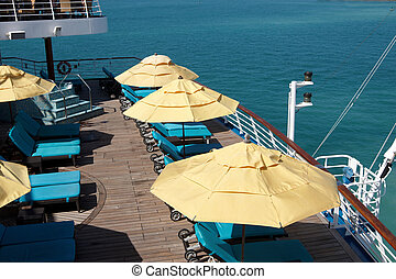 The deck on a cruise ship