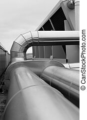 Large metal ducts - Selective focus showing a bend and elbow...
