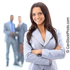 retrato, sonriente, joven, empresa / negocio, mujer, gente,...