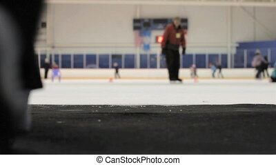 Girl Walks Onto Ice At The Rink