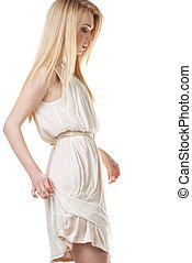Dancing blond woman with long hair on white