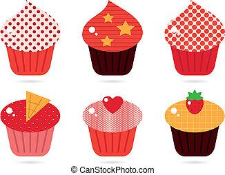 Retro cupcakes set isolated on white