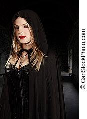femme, vampire, encapuchonné, cap