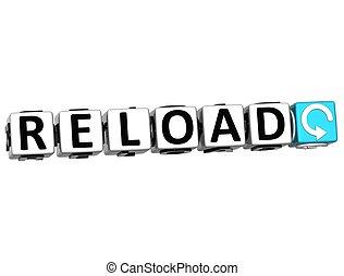 3D Reload Navigation Button cube text