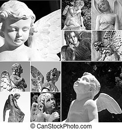 collage with cemetery angels, Italy, Europe
