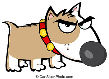 Angry Brown Dog Bull Terrier Cartoon Character