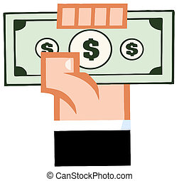 Hand With Cash Cartoon Character