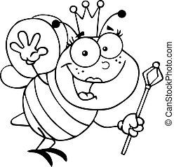 Outlined Queen Bee