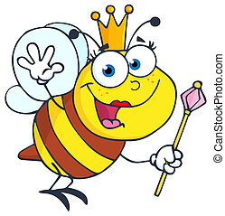 Queen Bee Waving For Greeting - Queen Bee Cartoon Character...