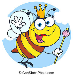 Happy Queen Bee Cartoon Character