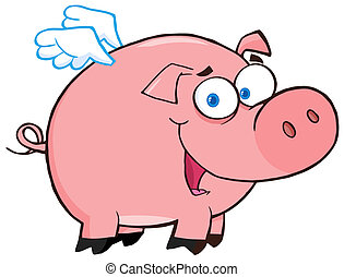 Happy Pig Flying Cartoon Character
