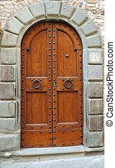 elegante, doble, vendimia, puerta, Italia