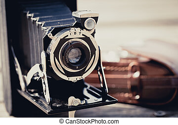 Old Folding Camera - Beautiful old vintage folding camera