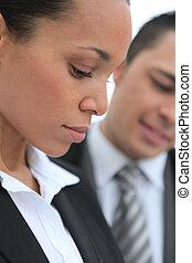Closeup profile of a businesswoman