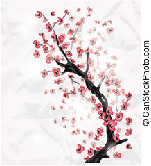 cherry blossom branch painted in an oriental style with...
