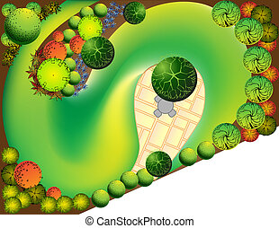 Plan of garden - Colored Plan of garden