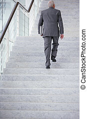 Businessman going upstairs