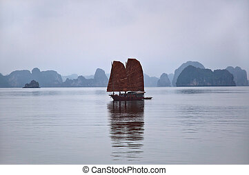 Junk, Halong Bay - Traditional junk at Halong Bay, Vietnam,...