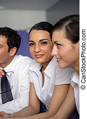 Young businesswoman in a meeting
