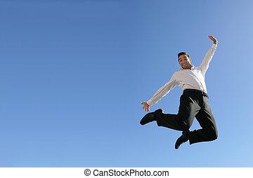 Businessman in mid-air