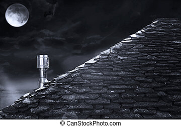 Roof at night in black and white - Detail of the roof of a...
