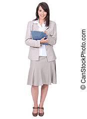 Brunette with a clipboard