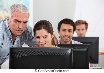 學生, 計算机, 坐