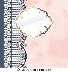 Pink label with charcoal lace