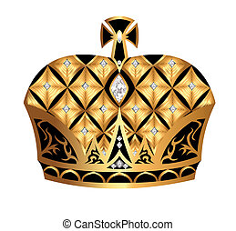 golden royal crown insulated on white background -...