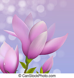 Magnolia With Water Drop, Vector Illustration