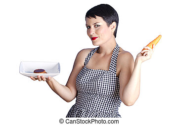 attractive woman with carrot on white background