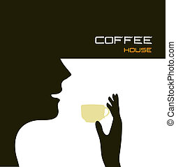 COFFEE-HOUSE - Abstract background with a silhouette image...