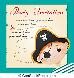 Pirate party invitation, illustration