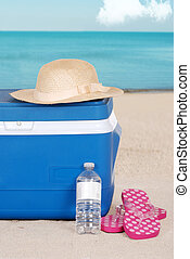 cooler woman hat and sandals on the beach