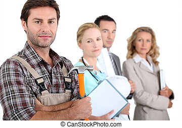 diferente, profissões, foco, carpinteiro
