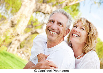 Happy mature couple outdoors - Portrait of a happy mature...
