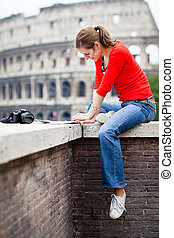 Portrait of a pretty, young, female tourist in Rome, Italy...